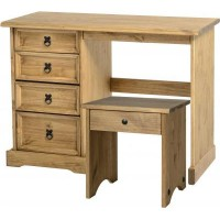 Corona Pine 4 Drawer Dressing Table - Stool Sold Individually