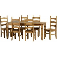Corona Pine 6ft Dining Table with 6 Chairs